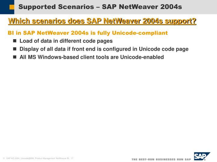 Supported Scenarios – SAP NetWeaver 2004s