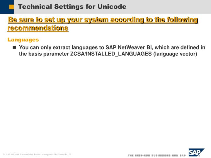 Technical Settings for Unicode