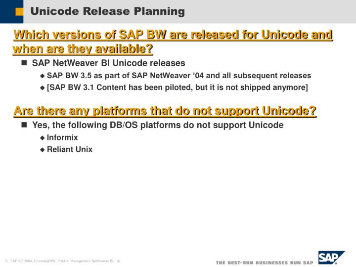 Unicode Release Planning