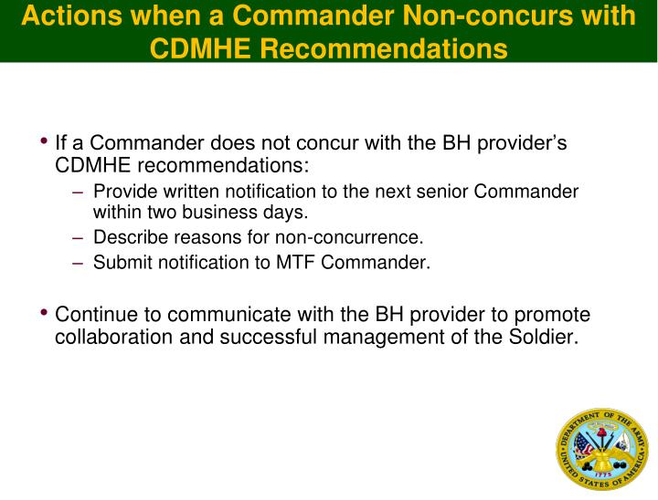 Actions when a Commander Non-concurs with CDMHE Recommendations
