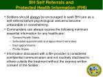 bh self referrals and protected health information phi