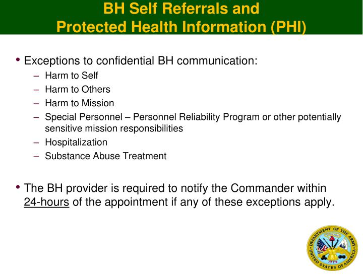BH Self Referrals and