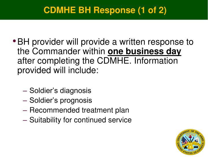 CDMHE BH Response (1 of 2)