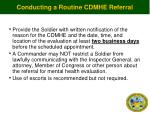 conducting a routine cdmhe referral
