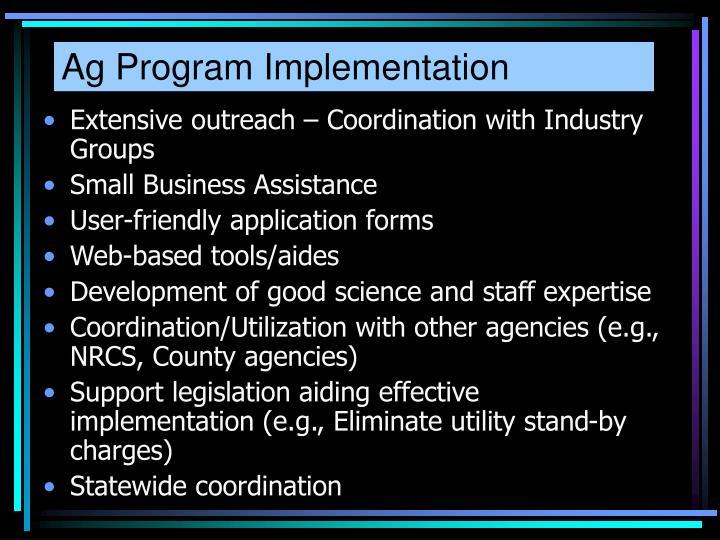 Ag Program Implementation