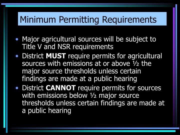 Minimum Permitting Requirements