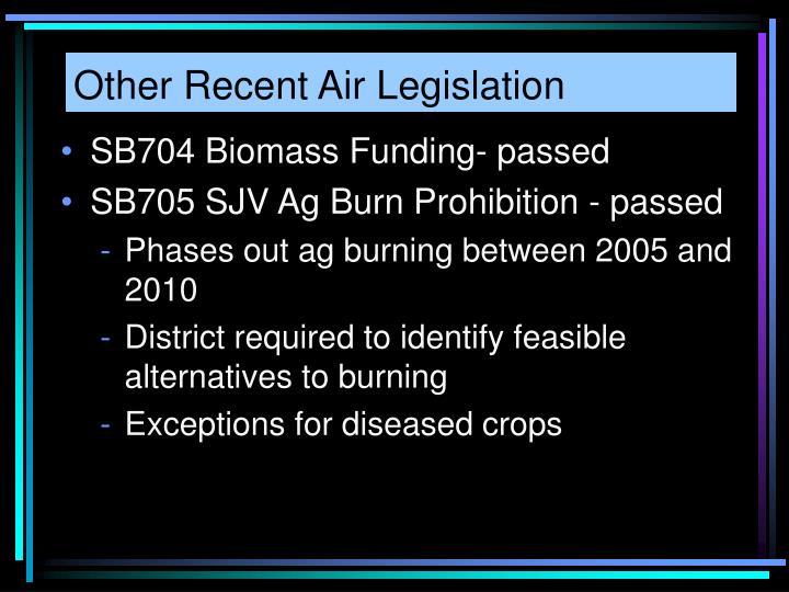Other Recent Air Legislation