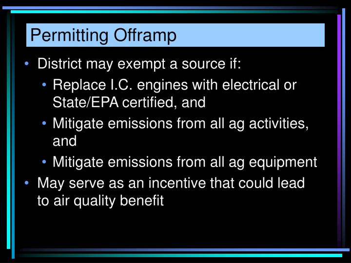 Permitting Offramp
