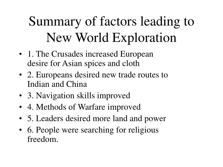 Summary of factors leading to New World Exploration