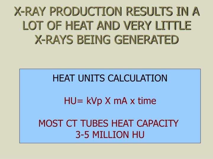 X-RAY PRODUCTION RESULTS IN A LOT OF HEAT AND VERY LITTLE