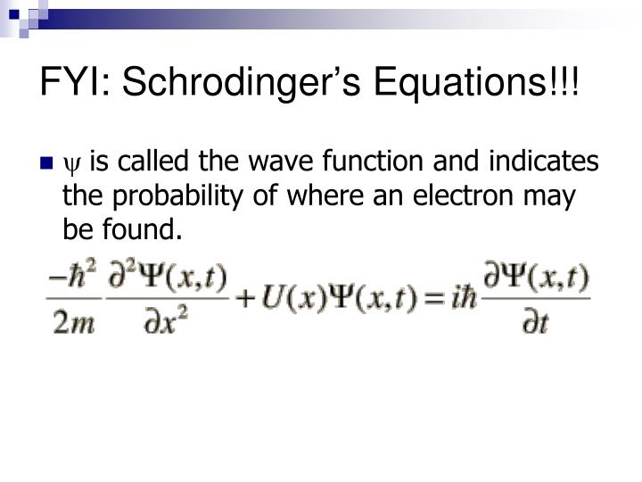 FYI: Schrodinger's Equations!!!