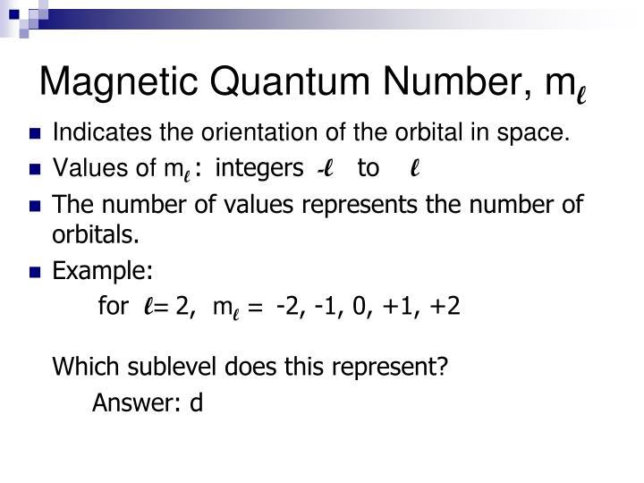 Magnetic Quantum Number, m