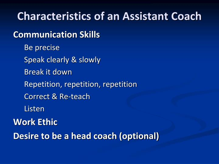 Characteristics of an Assistant Coach
