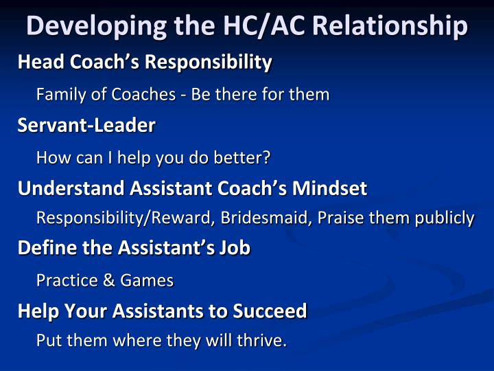Developing the HC/AC Relationship