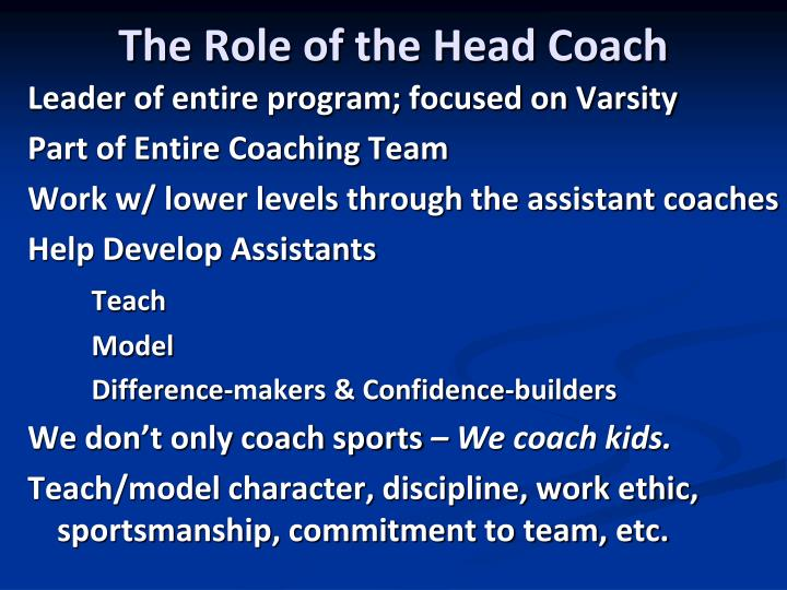 The Role of the Head Coach