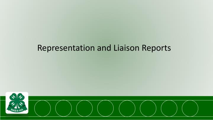 Representation and Liaison Reports