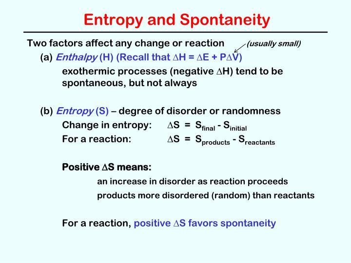 Entropy and Spontaneity