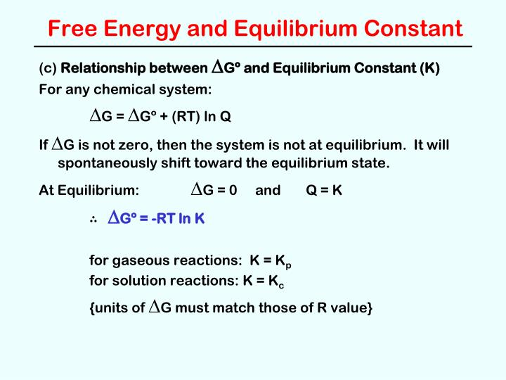 Free Energy and Equilibrium Constant