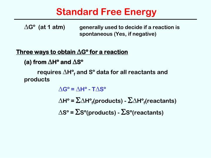 Standard Free Energy