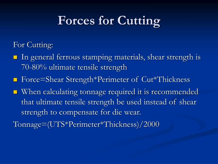 Forces for Cutting