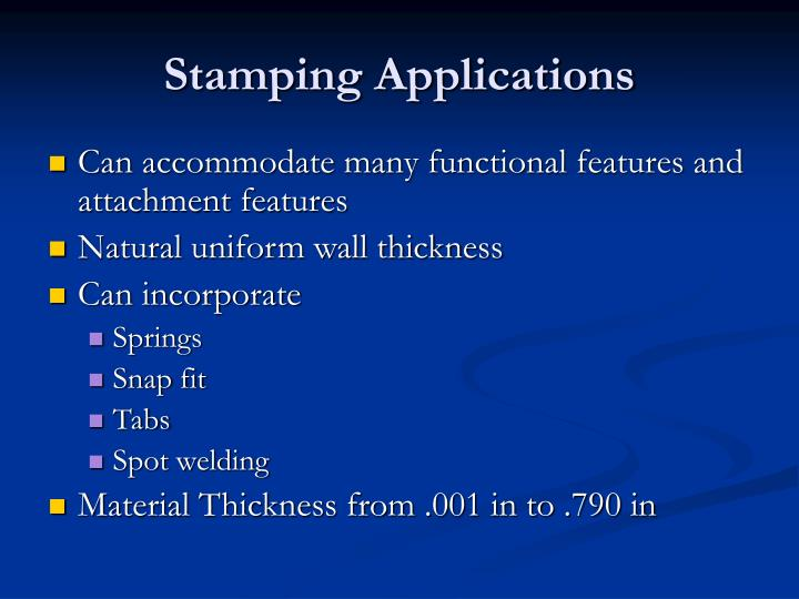 Stamping Applications