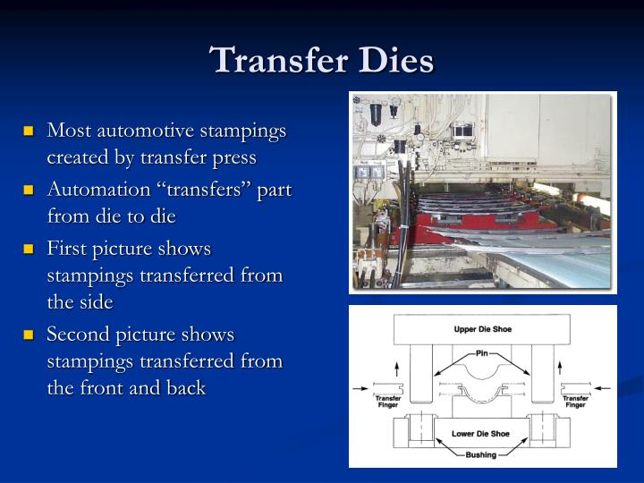 Most automotive stampings created by transfer press