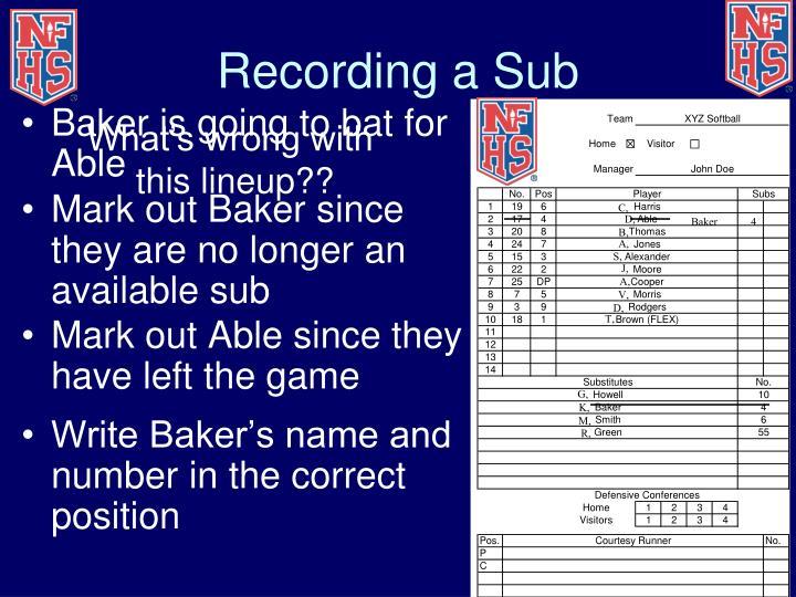 Recording a Sub