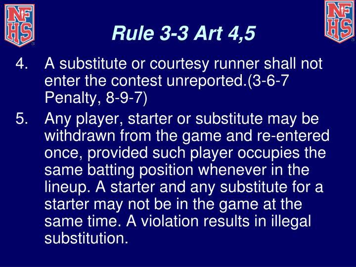 Rule 3-3 Art 4,5