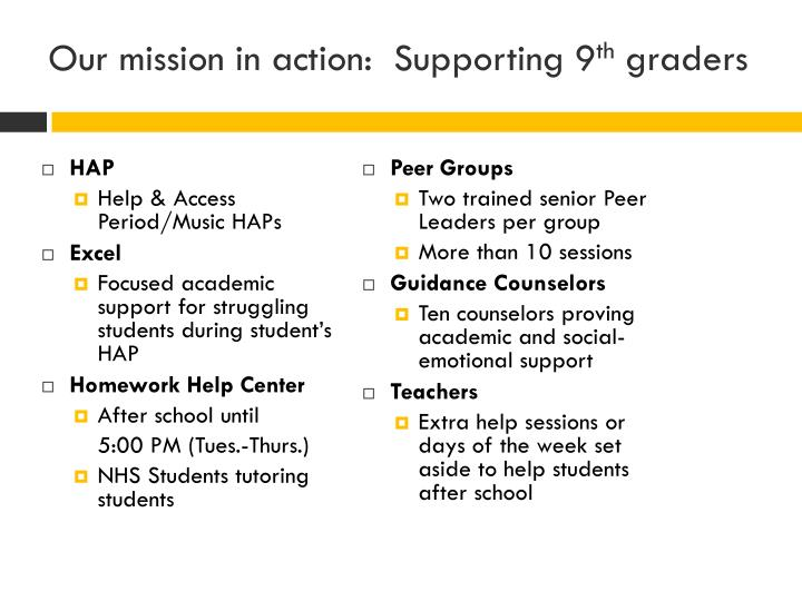 Our mission in action:  Supporting 9