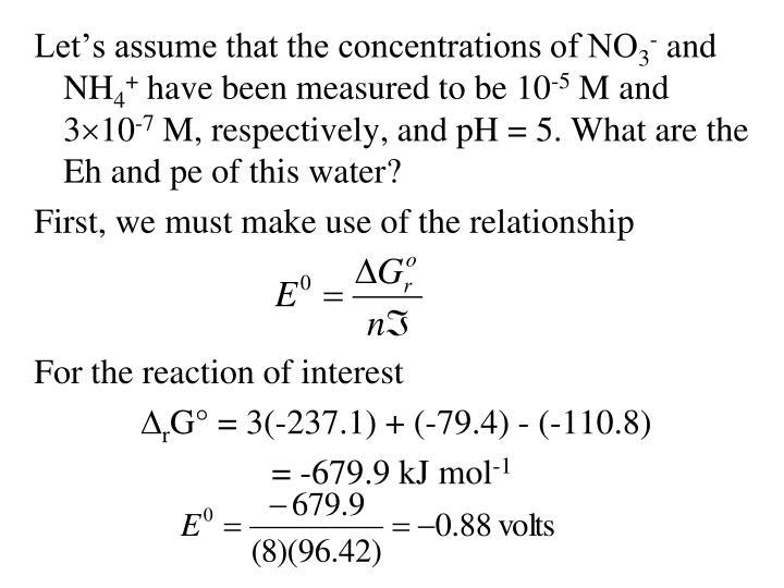 Let's assume that the concentrations of NO