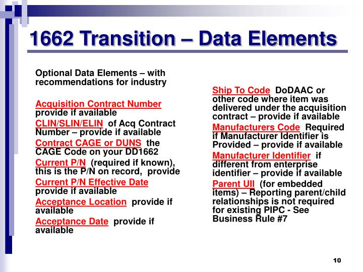 1662 Transition – Data Elements