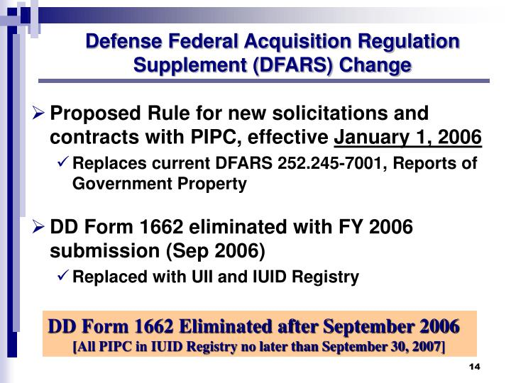 Defense Federal Acquisition Regulation Supplement (DFARS) Change