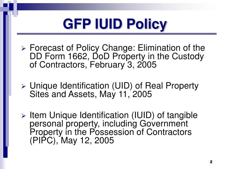 GFP IUID Policy