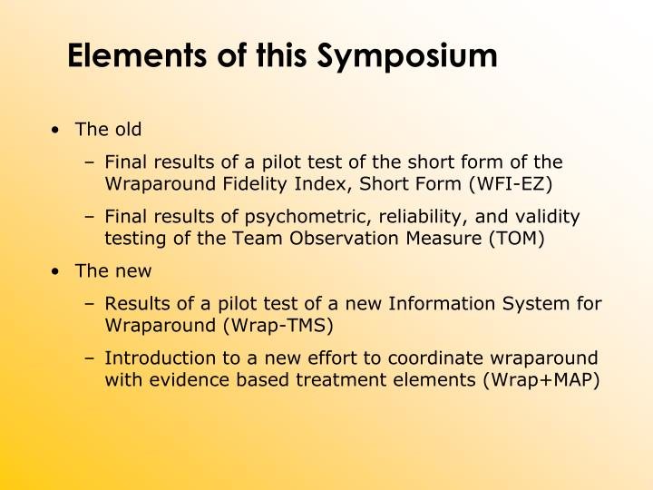 Elements of this Symposium