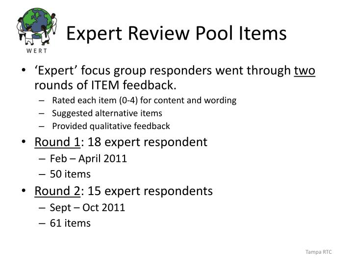 Expert Review Pool Items