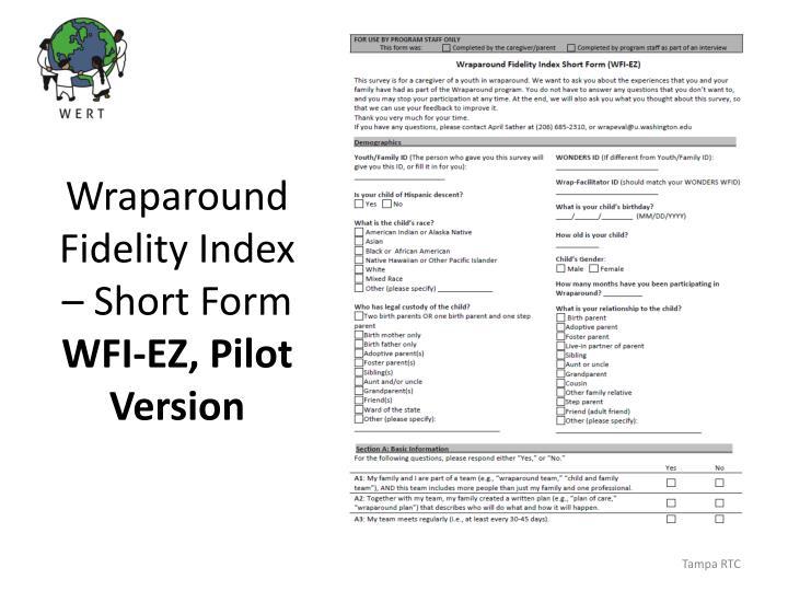 Wraparound Fidelity Index – Short Form