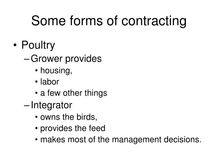 Some forms of contracting