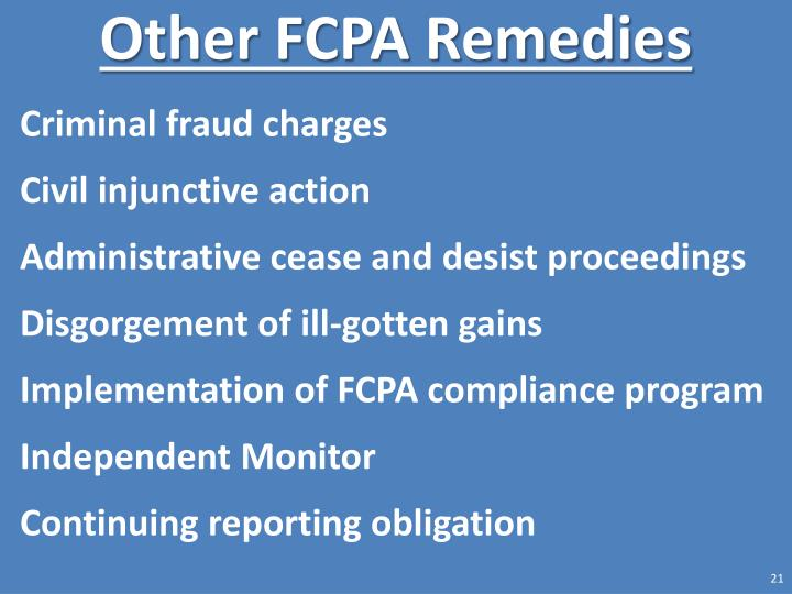 Other FCPA Remedies