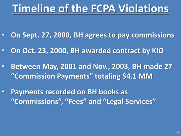 Timeline of the FCPA Violations