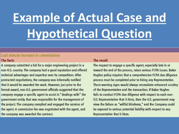 Example of Actual Case and Hypothetical Question