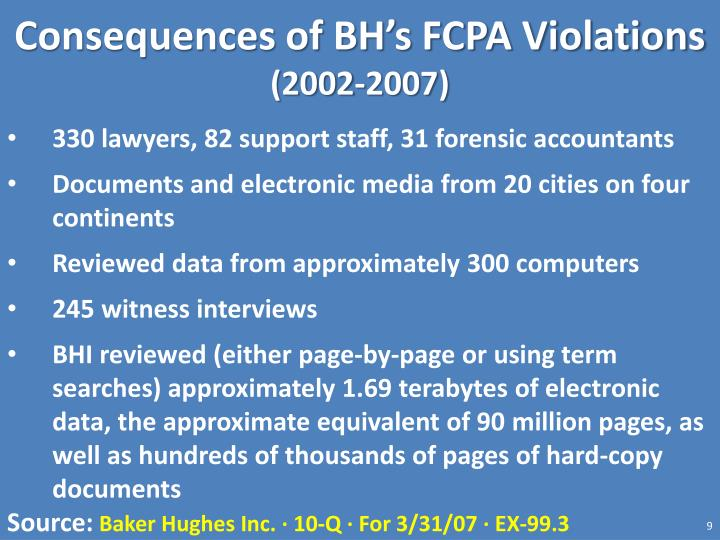 Consequences of BH's FCPA Violations