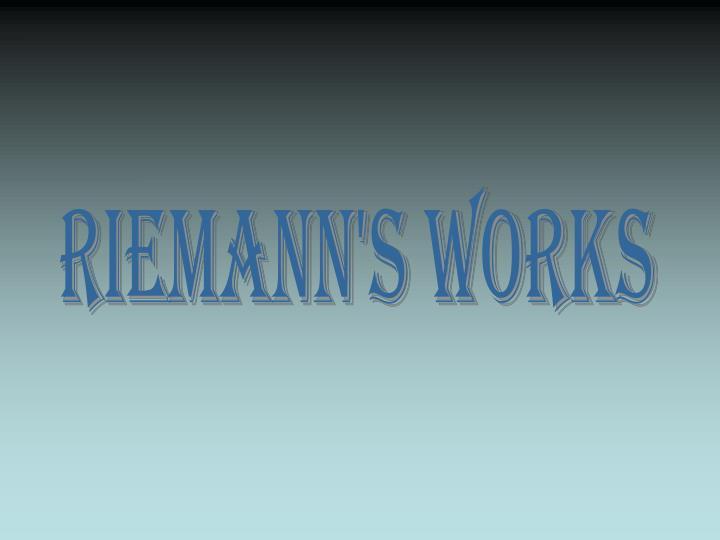 Riemann's Works