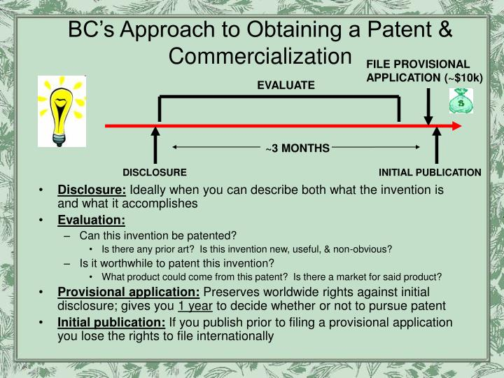 BC's Approach to Obtaining a Patent & Commercialization