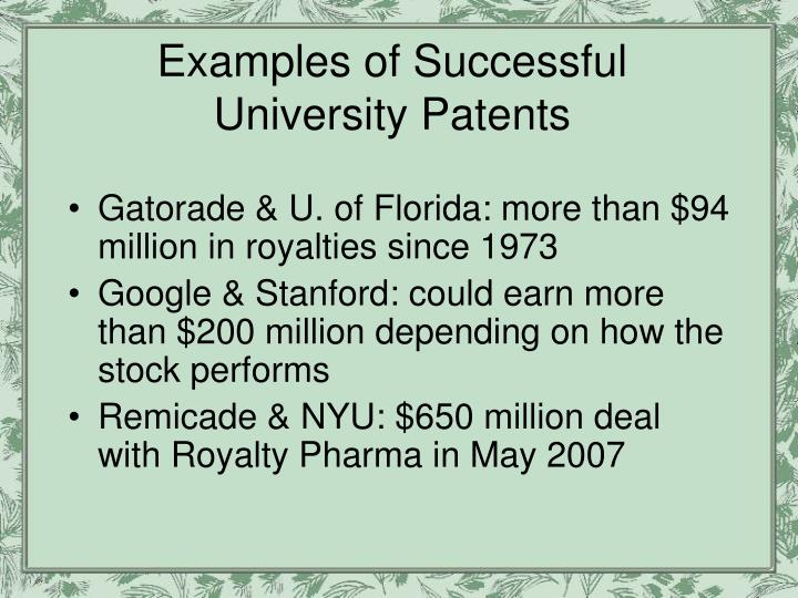 Examples of Successful University Patents