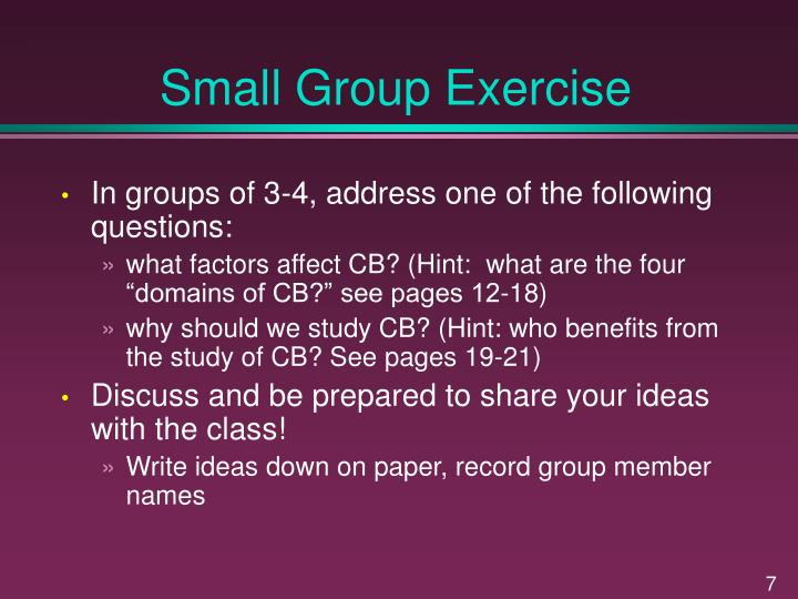 Small Group Exercise