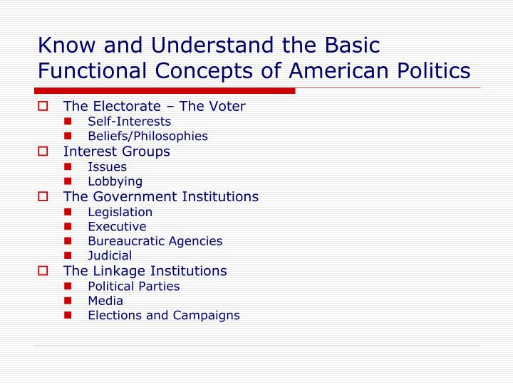 Know and understand the basic functional concepts of american politics