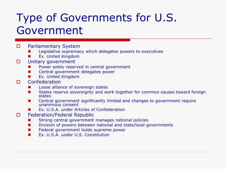 Type of Governments for U.S. Government