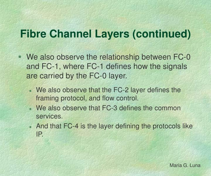 Fibre Channel Layers (continued)
