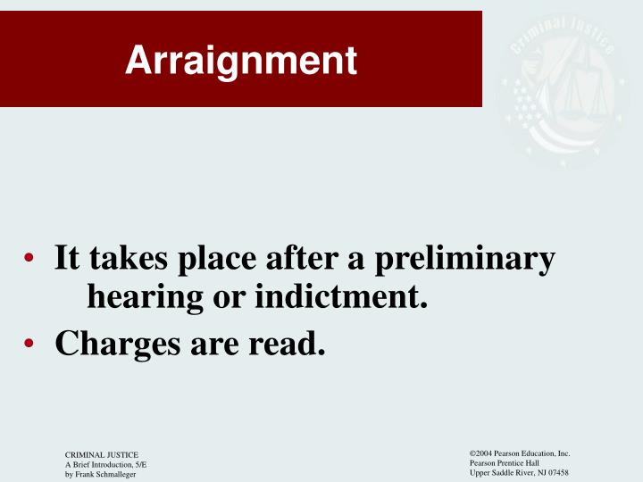 It takes place after a preliminary 	hearing or indictment.
