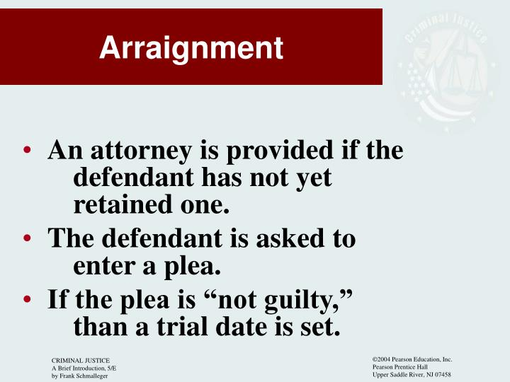 An attorney is provided if the 	defendant has not yet 			retained one.